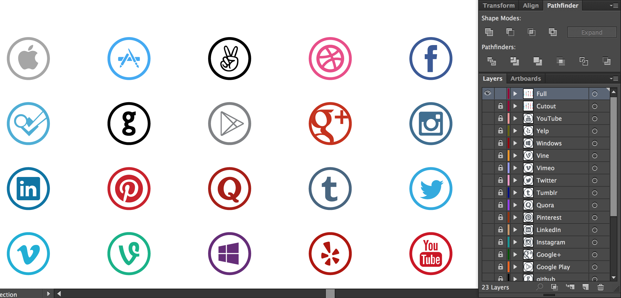 Vector Social Media Icons - Circle Style