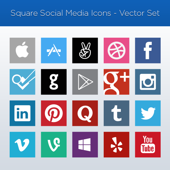 Square Social Media Icons Vector Set
